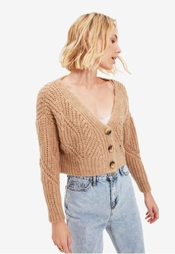 Trendyol brown Chunky Knit Crop Cardigan 9CBDDAA9E78FACGS_1