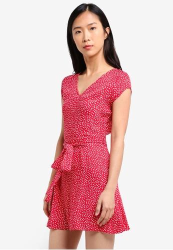 ZALORA red V Neck Cap Sleeve A-Line Dress C0EAFAAE905277GS_1