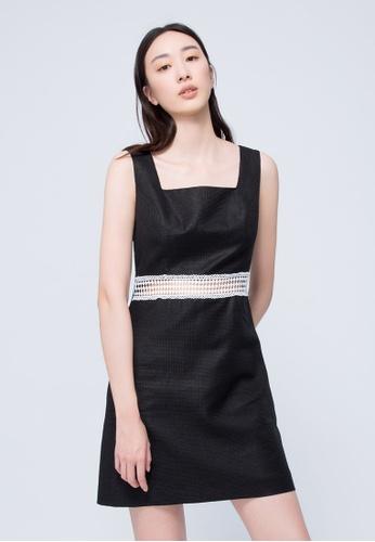 iROO black Textured Mini Dress B724CAA91787DCGS_1