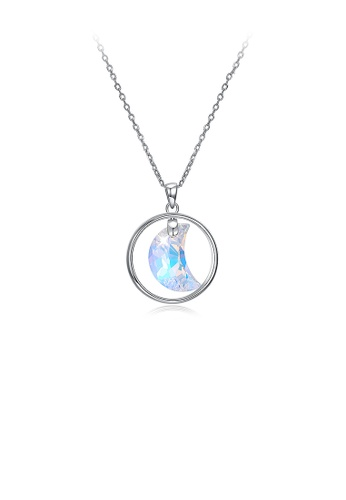 Glamorousky silver 925 Sterling Silver Moon Pendant with Austrian Element Crystal and Necklace 2D94EAC57FEDF0GS_1