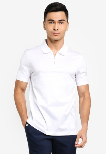 ck Calvin Klein white DOUBLE MERCERISED COTTON POLO WITH SILICONE BADGE 33981AAF54A514GS_1