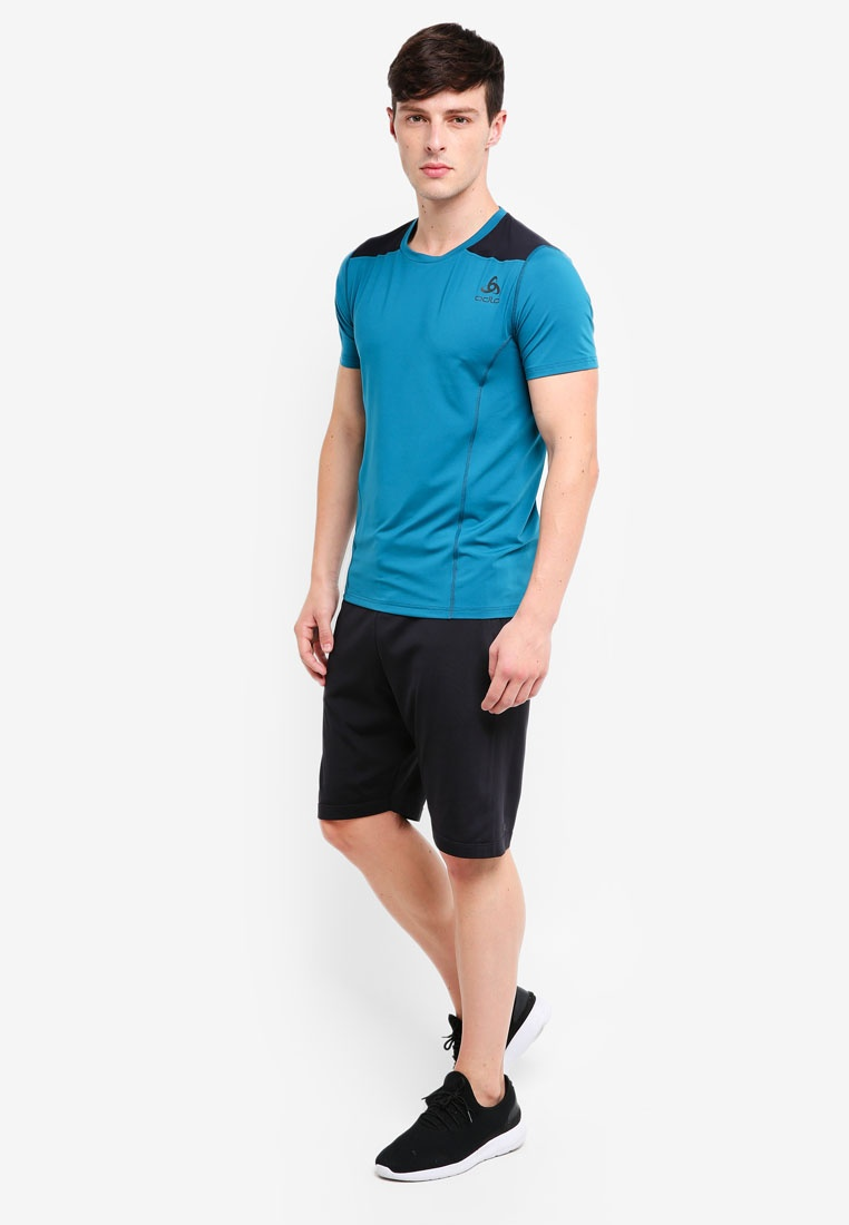 Ceramicool Bl Neck Black Blue Odlo Short Sleeves Coral Tee Top Crew nraRXqrB