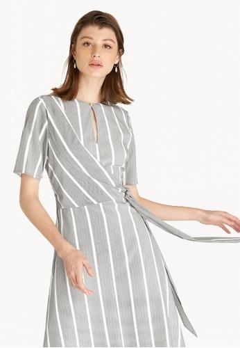Pomelo black Stripe Keyhole Wrap Dress - Black 1A79EAA4F8AB33GS_1
