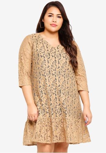 Ex'otico beige Plus Size 3/4 Sleeve Lace Dress D0D91AAFE18612GS_1