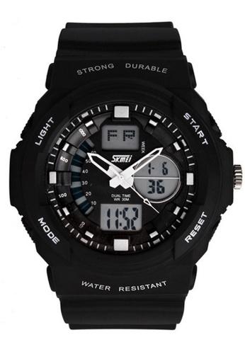 Skmei black SKMEI 0955 Men's LED Analog Digital Alarm Sport Watch (Black) SK707AC0RXCNMY_1