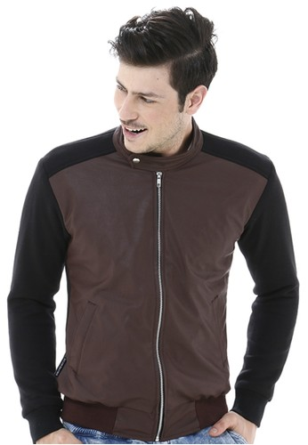 Crows Denim black and brown Crows Denim -  Leather Comby Style Jacket Casual CR199AA44JMHID_1