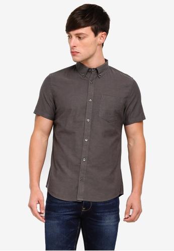 Burton Menswear London 灰色 Short Sleeve Charcoal Oxford Shirt 5F3FEAA77C9F5CGS_1