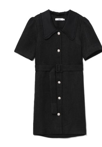 b+ab black Belted tweed dress EB42CAA06F67D1GS_1