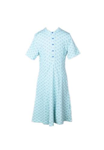 Mini Moley blue Seashell Print Half-Button Down Dress 830E8KA36BB1C0GS_1