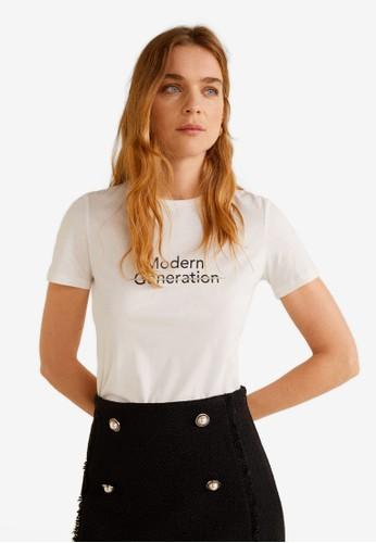 MANGO white Rhinestone Message T-Shirt CEB27AA866B119GS_1