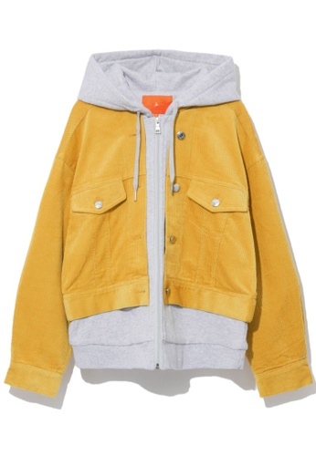 tout à coup yellow Corduroy layered jacket 91DD7AA8A3ADE0GS_1
