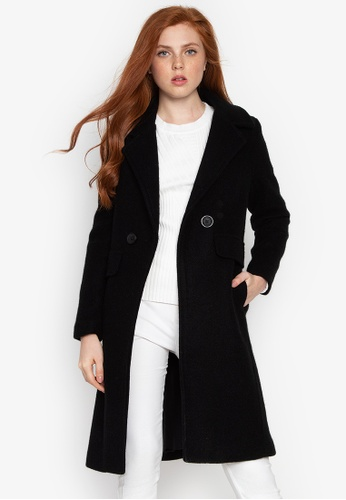 Well Suited black Slim Fit Wool Trench Coat CAB03AA51220E4GS_1