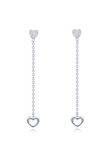 Mabelle Silver 18k 750 White Gold Diamond Heart Dangle Earrings 54da6ac4dad746gs 1