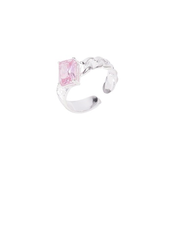 Glamorousky pink 925 Sterling Silver Fashion Simple Twist Geometric Square Pink Cubic Zirconia Adjustable Open Ring 6EC6AAC4ACA46BGS_1