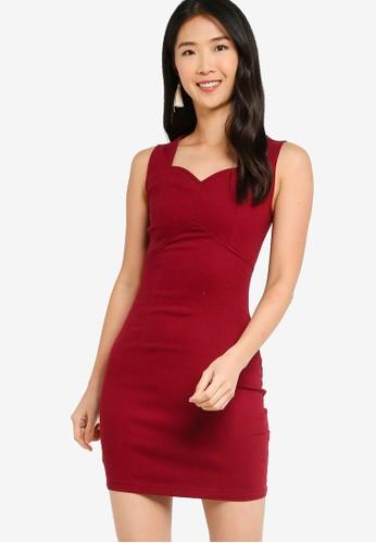 ZALORA BASICS red Fitted Denim Dress 0DF06AA5FA9B21GS_1