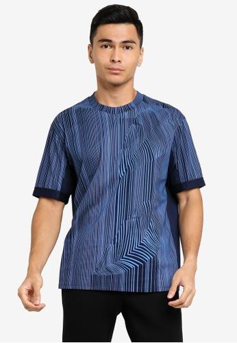 ck Calvin Klein blue PRINTED DOUBLE MERCERISED COTTON TURN-UP TOP 68802AAD55B335GS_1