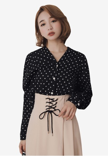 Kodz black and multi V-Neck Long Sleeve Blouse With Polka Dot Print 87D04AAFAC3EE6GS_1