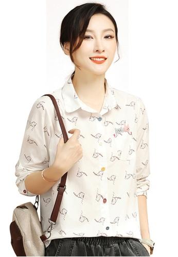 A-IN GIRLS white Cartoon Print Long Sleeve Shirt F290FAA2820C12GS_1