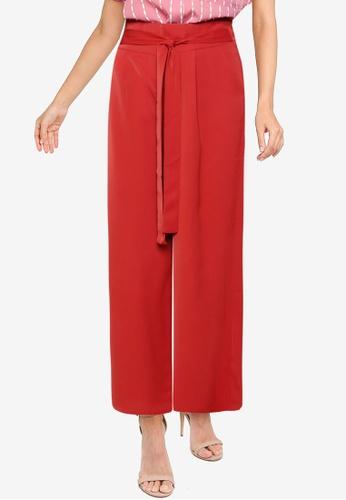 ZALORA WORK orange Tie Waist Flare Pants 00208AA975E950GS_1