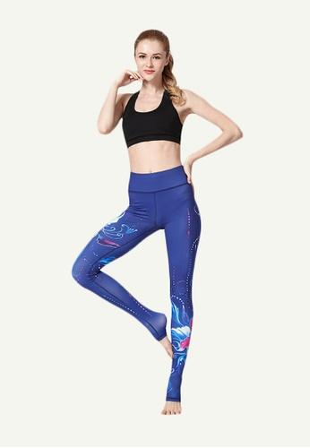 B-Code blue ZYG5020D-Lady Quick Drying Running Fitness Yoga Sports Leggings-Blue 3AA53AA7224CA3GS_1