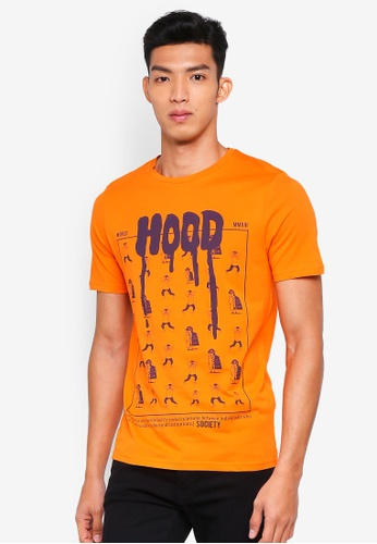 Only & Sons orange Florian Printed Tee 63C49AAB519FA6GS_1