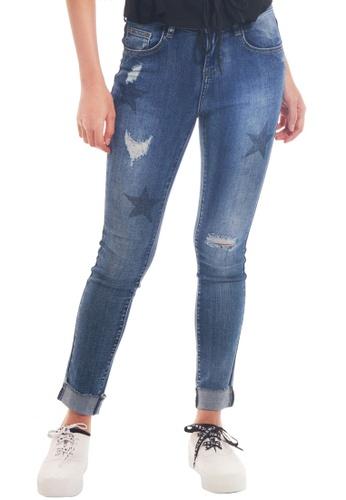 Kitschen blue Starry Print Denim Jeans F0B1FAA23739CDGS_1