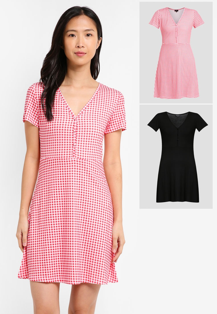 2 Red Gingham ZALORA Dress Pack Tea BASICS Black Essential 1x1rqP0