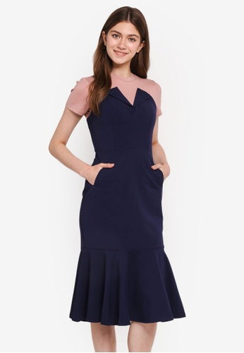MDSCollections blue and navy Flap-Over Flare Dress In Navy 0CEDEAAC27B41CGS_1