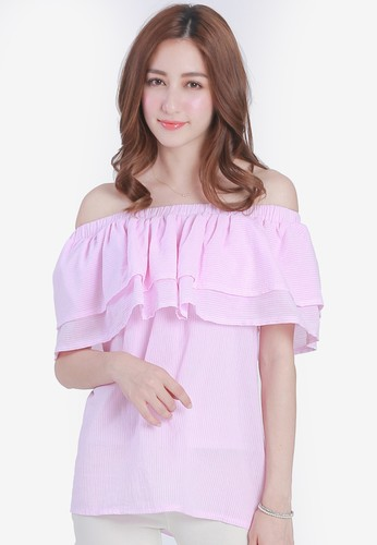 Yoco pink Pin Stripe Off Shoulder Top AD100AA710E4F9GS_1