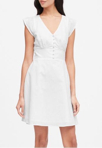 Banana Republic white Linen-Cotton Button-Front Mini Dress F0BA2AA22A39CBGS_1