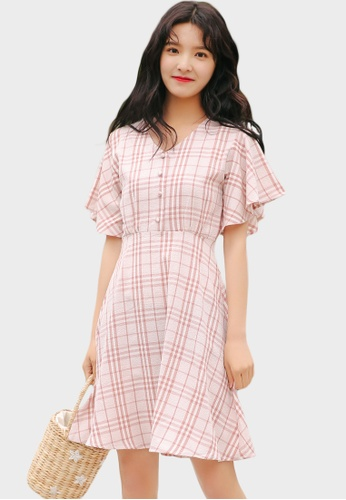 Shopsfashion Checked Fit and Flare Dress in Pink  10F1FAA79E1C3DGS_1