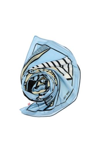 Carlo Rino blue Light Blue All About Angles Geometric Long Satin Chiffon Scarf 7B335AC04BFD8CGS_1