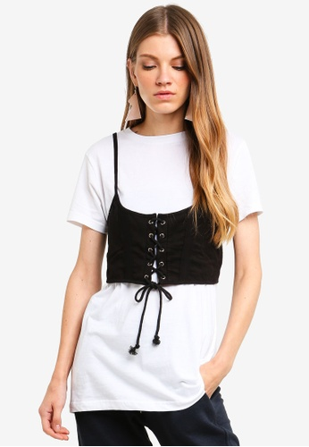 Brave Soul white T-Shirt With Corset Bralet 3CB6AAAE0FA175GS_1