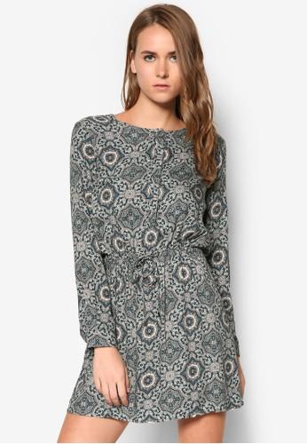 印花zalora時尚購物網的koumi koumi繫帶長袖洋裝, 服飾, 服飾