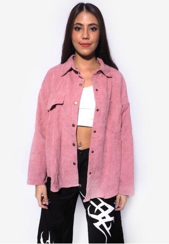 RFLCTVE pink Pastel Corduroy Shirt 51CFEAA1494344GS_1