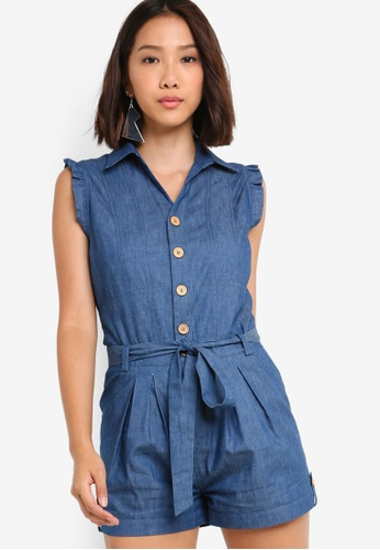 Something Borrowed blue Button Down Flutter Sleeves Playsuit 710E8AA07B846BGS_1