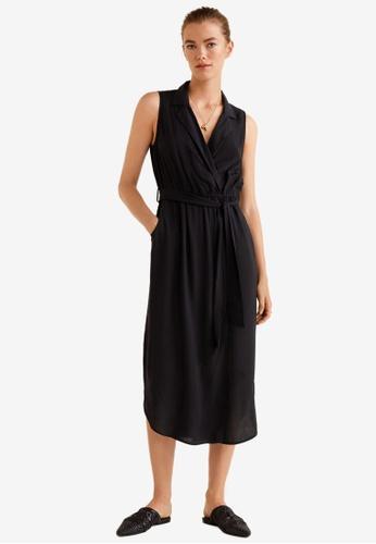 Mango black Belt Midi Dress 65743AA751D811GS_1