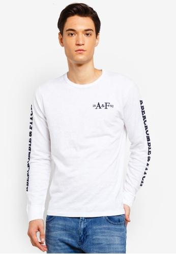 Abercrombie & Fitch 白色 LOGO刺繡T恤 0E5A6AA1A093F6GS_1