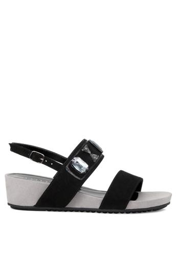 London Rag black Whitney Embellished Wedge Sandals 8A06ASH772DA84GS_1