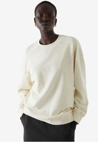 COS white Terry Sweatshirt 4BB56AA63BEC27GS_1