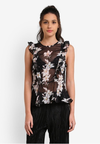 Miss Selfridge black Dark Floral Dobby Shell Top MI665AA0RX9PMY_1