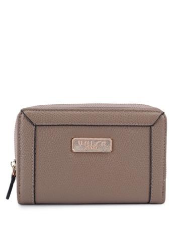 Unisa brown Textured Medium Zip-Up Wallet B92C0AC40242FCGS_1