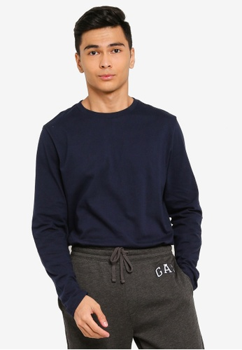 GAP navy Everyday Crew Long Sleeve T-Shirt 8A6DCAA91981E4GS_1