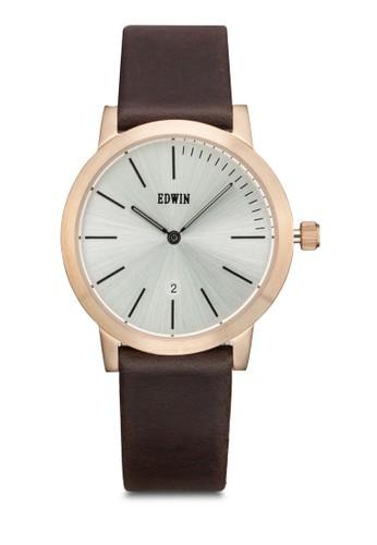 KENNY 雙指針皮革圓錶, 錶類, 休閒esprit官網型