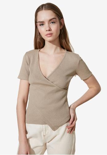 Trendyol beige Asymmetrical V Neck Wrap Top 98EE3AA8709B97GS_1