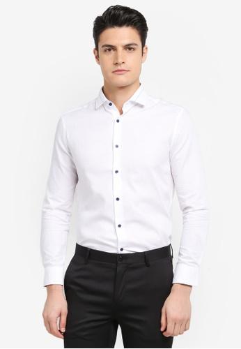 G2000 white Pattern Collar Long Sleeve Shirt EF620AA117DB06GS_1