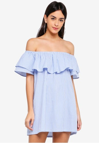 Hopeshow blue Off Shoulder Mid Thigh Dress with Frills 07B86AAA8F61D0GS_1