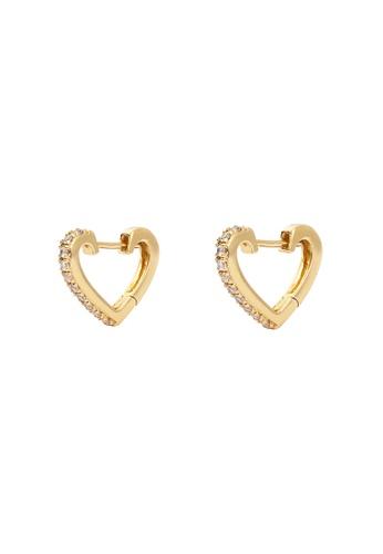 Wanderlust + Co gold Heart Gold Huggie Clear CZ 10mm Earrings 3FAA5AC236120BGS_1