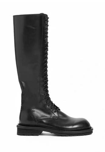 Twenty Eight Shoes 黑色 暗黑型格仿皮長靴 556-2 D2273SH9A9E606GS_1