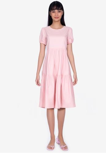 ZALORA BASICS pink Puff Sleeve Smock Midi Dress F91C9AAE1B36B9GS_1